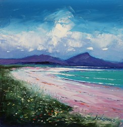 Summerlight North Uist by John Lowrie Morrison - Original Painting on Stretched Canvas sized 12x12 inches. Available from Whitewall Galleries